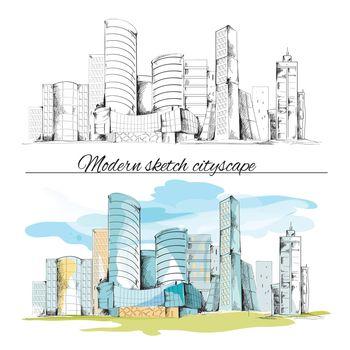 Modern sketch buildings cityscape