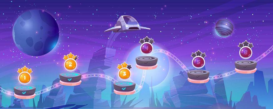 Mobile arcade with spaceship, interstellar shuttle