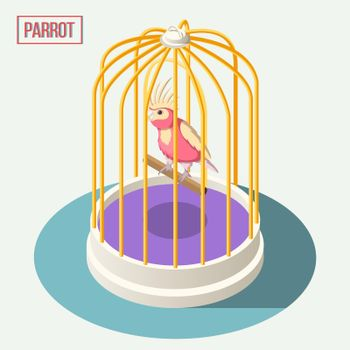 Parrot In Cage Isometric Composition