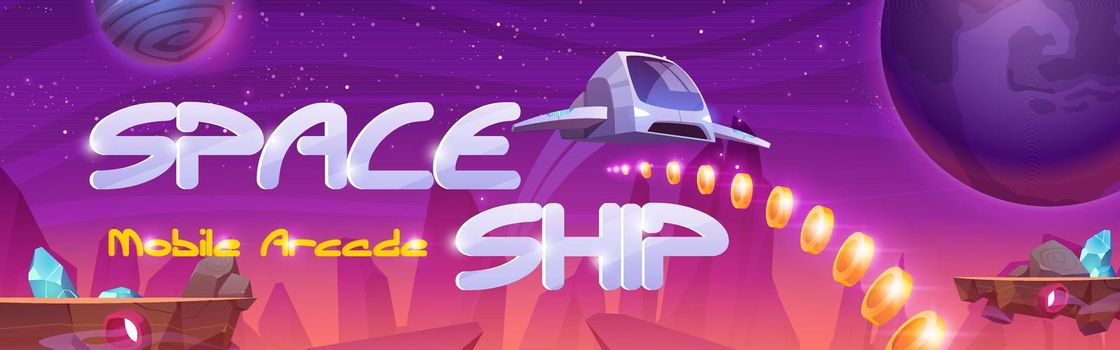 Mobile arcade with space ship interstellar shuttle