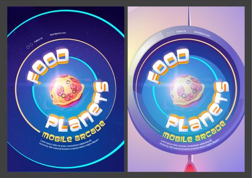 Food planets mobile arcade with pizza in space