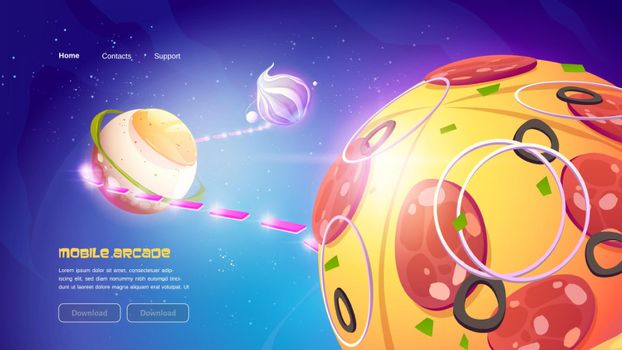 Mobile arcade game website with food planets
