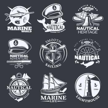 Nautical Emblem Set On Black