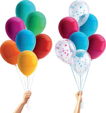 Party Balloons In Hand Composition