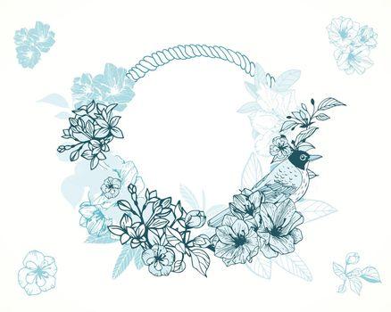 Pastel romantic floral frame