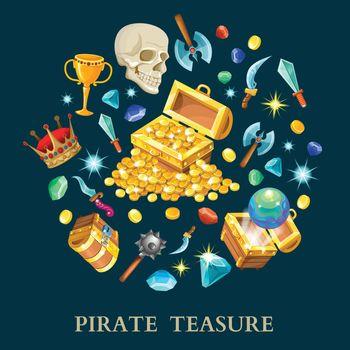 Pirate Treasure Isometric Icons Set