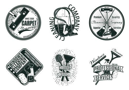 Monochrome Cleaning Company Logos Set