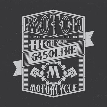 Motor Gasoline typography label design.