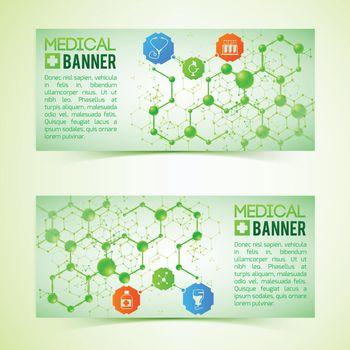 Pharmaceutics And Pharmacy Horizontal Banners Set