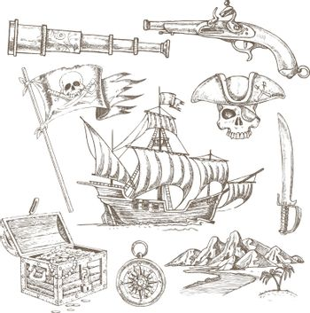 Pirate Elements Hand Drawn Set
