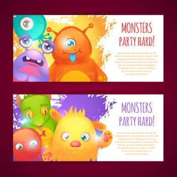 Monsters horizontal banners
