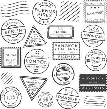 Monochrome Retro Postage Stamps Set