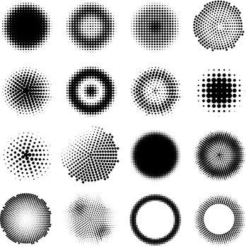 Monochrome Halftone Effects Circles Set