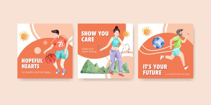 Ads template with world mental health day concept design for advertise and marketing watercolor vector