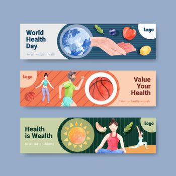 Banner template with world mental health day concept design for advertise and leaflet watercolor vector