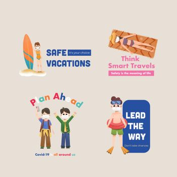 Logo design with COVID-19 prevention concept for branding and  marketing watercolor vector illustration.