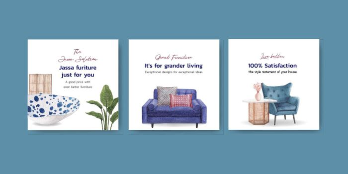 Advertise template with Jassa furniture concept design for advertise and marketing watercolor vector illustration