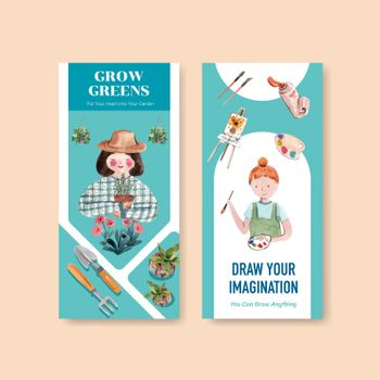 Flyer template with daily life design for brochure and marketing  watercolor illustration