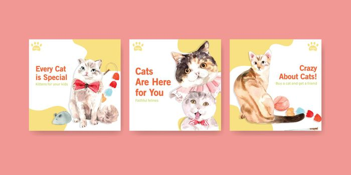 Advertise template design with  cat for leaflet and marketing watercolor illustration