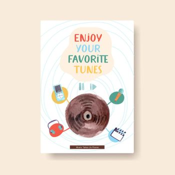 Information template with daily life design for brochure and leaflet watercolor illustration