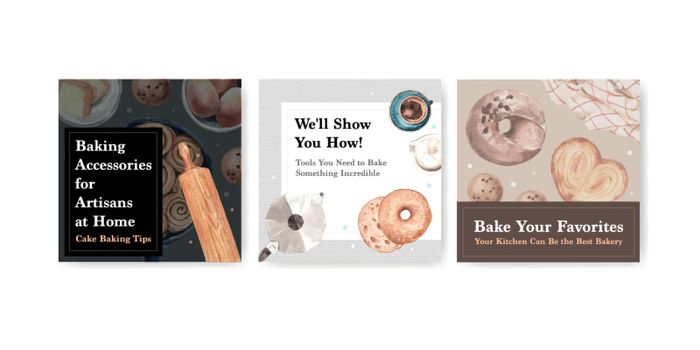 Ads template with bakery design for brochure and leaflet watercolor illustration