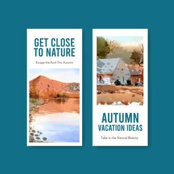 Flyer template with landscape in autumn design for brochure and leaflet.Fall seasons watercolor vector illustration