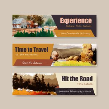 Banner template with landscape in autumn design for marketing and leaflet.Fall seasons watercolor vector illustration