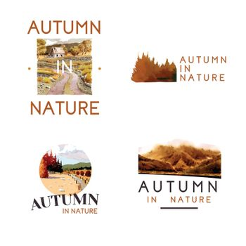 Logo design with landscape in autumn for marketing.Fall seasons watercolor vector illustration