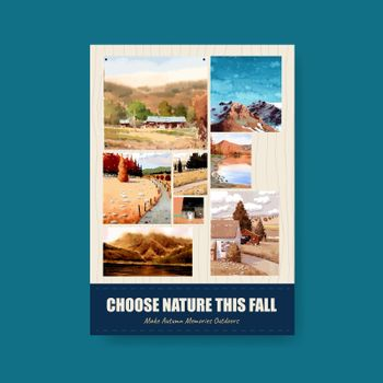 Poster template with landscape in autumn design for brochure and advertise.Fall seasons watercolor vector illustration