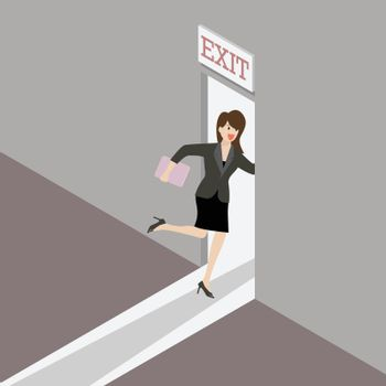 Business woman runs to the exit door