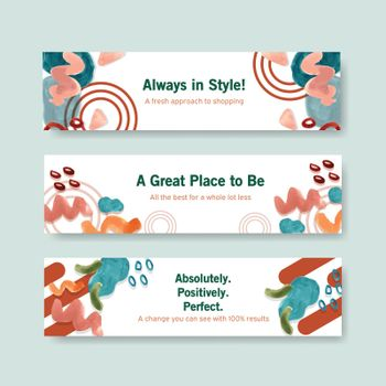 Banner template with shopping design for leaflet and marketing watercolor illustration