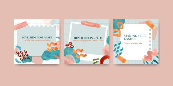 Advertise template with shopping design for brochure and leaflet watercolor illustration