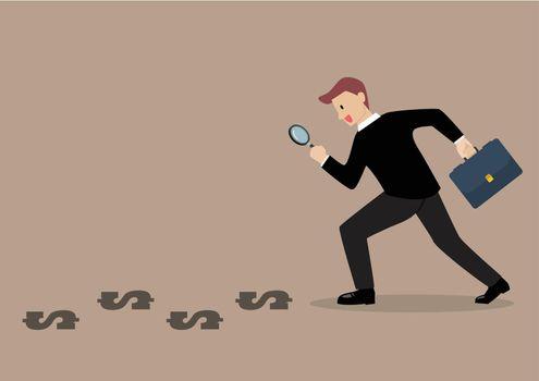 Detective businessman finding money