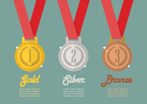 Gold silver and bronze medals infographic