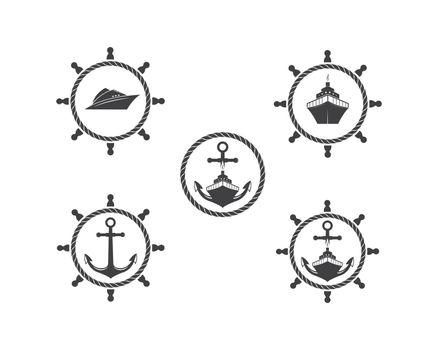 nautical vector logo icon of maritime illustration