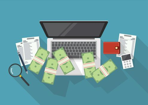 Making money online and cost control concept