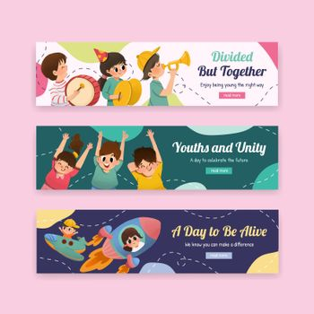 Youth day banner template design for international youth day,poster,template,advertising and brochure watercolor vector illustration