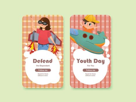 Youth day instagram template design for international youth day,social media,online community and internet watercolor vector illustration