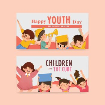 Twitter template with youth day design for international youth day,social media,online community and internet watercolor vector illustration
