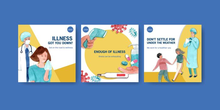 Advertise or brochure design with information about the illness and healthcare