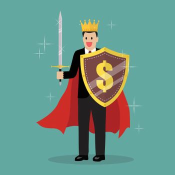 King businessman with shield and sword