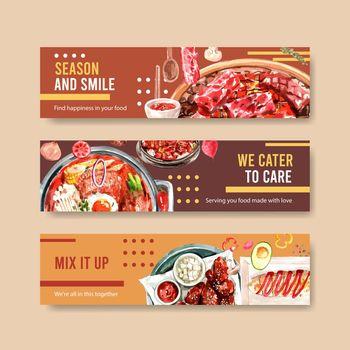 Cooking banner template design for brochure,web and leaflet watercolor illustration