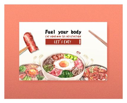 Facebook template with cooking design for brochure,web and leaflet watercolor illustration