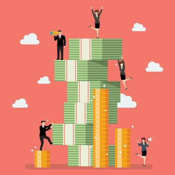 Business people try to climbing money mountain