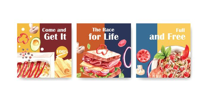 Advertising template with cooking design for brochure and  leaflet watercolor illustration