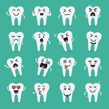 Tooth character emoji set