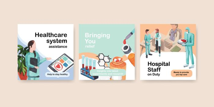 Advertising template with healthcare and hospital