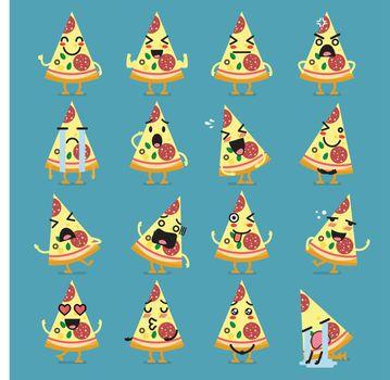 Pizza character emoji set