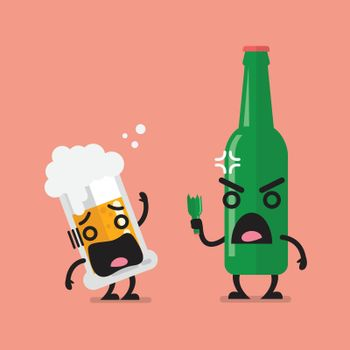 Angry beer bottle with glass of beer character