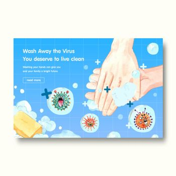 Facebook template design with hand sanitizer  and protect Coronavirus and bateria